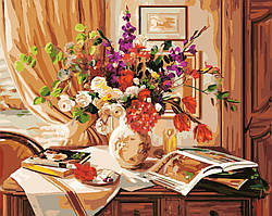 Картина по номерам без коробки Букет на комоде (BK-GX8970) 40 х 50 см