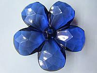 Цветок акриловый объёмный, рифлёный, для заколки, бижутерии, диаметр 4 см Синий, фото 1