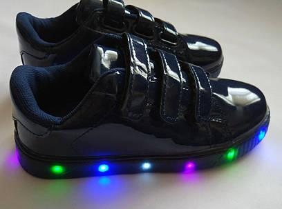 Детские синие лаковые кроссовки для девочки с мигалками 33, (32) 35 (34), 36(35)р