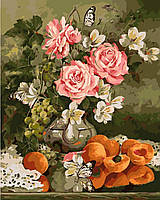 Картина по номерам без коробки Розы и персики Худ Ира Ром-Лоренц (BK-GX9269) 40 х 50 см, фото 1