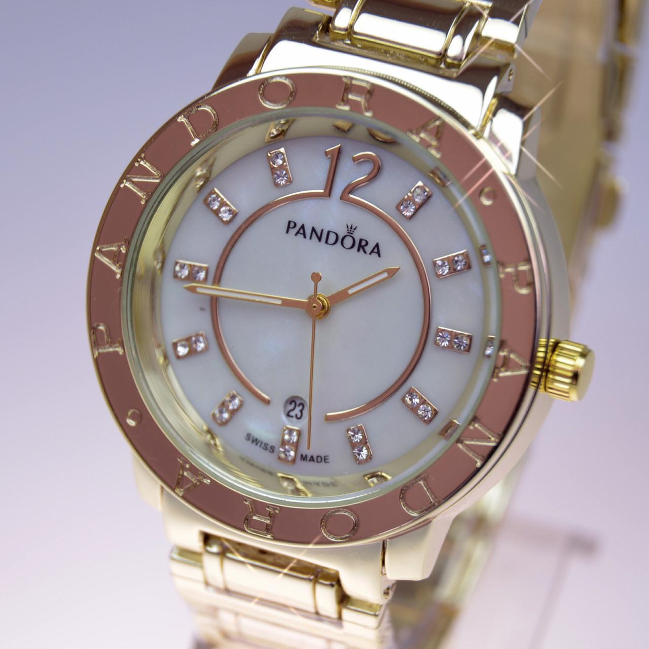 Женские наручные часы PANDORA (Пандора) C10 Gold перламутр