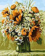 Картина раскраска по номерам без коробки Букет подсолнухов и ромашек (BK-GX5921) 40 х 50 см