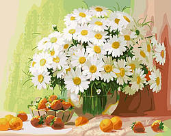 Картина раскраска по номерам без коробки Натюрморт с ромашками и абрикосами (BK-G320) 40 х 50 см