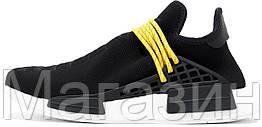 """Мужские кроссовки Adidas NMD Human Race Pharrell Williams """"Black"""" (в стиле Адидас НМД) черные"""