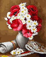 Картина-раскраска Букет маков и ромашек (BRM22036) 40 х 50 см, фото 1