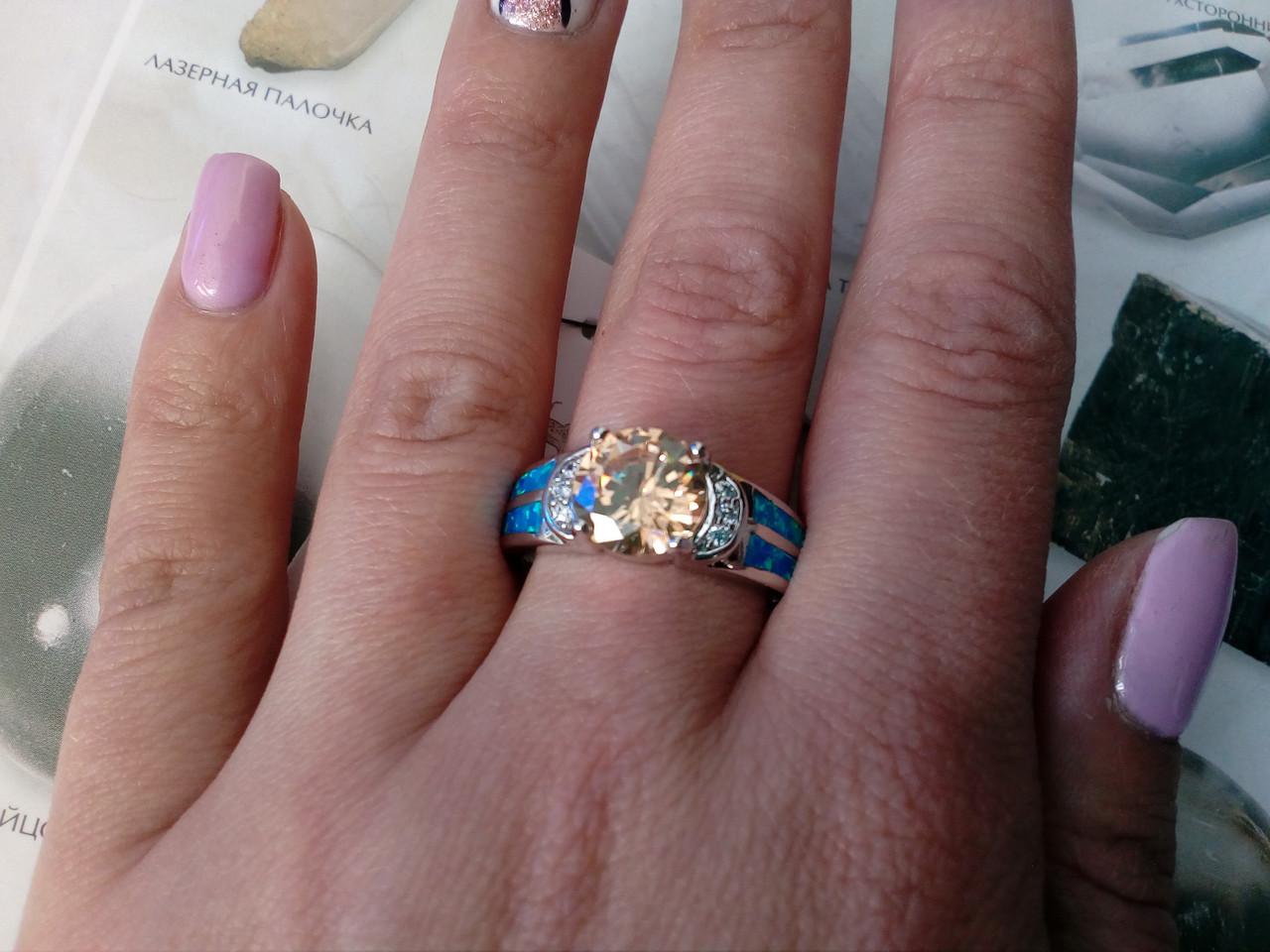 Красивое кольцо с огненным опалом и морганитом 20 размер в серебре., фото 1