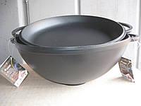 Казан чугунный (кастрюля WOK) эмалированный с чугунной крышкой-сковородой. Объем 3,5 литров., фото 1