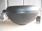 Казан чугунный (кастрюля WOK) эмалированный с чугунной крышкой-сковородой. Объем 3,5 литров., фото 2