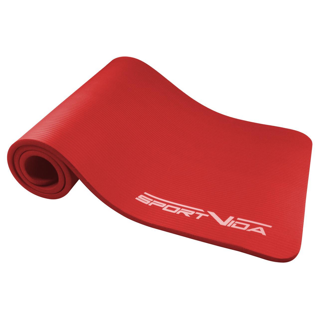 Коврик (мат) для йоги и фитнеса SportVida NBR 1.5 см SV-HK0073 Red