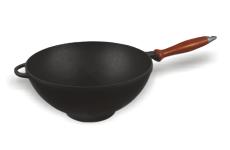 Казан чугунный эмалированный (кастрюля WOK) с деревянной ручкой и крышкой-сковородой. Объем 3,5 литров.
