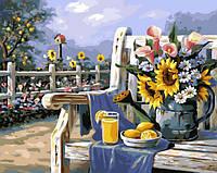 Рисование по номерам Подсолнухи и лимонад (BRM4660) 40 х 50 см, фото 1