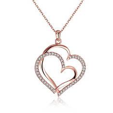 Колье кулон на цепочке женский Два сердца с камнями покрытие золото 18К