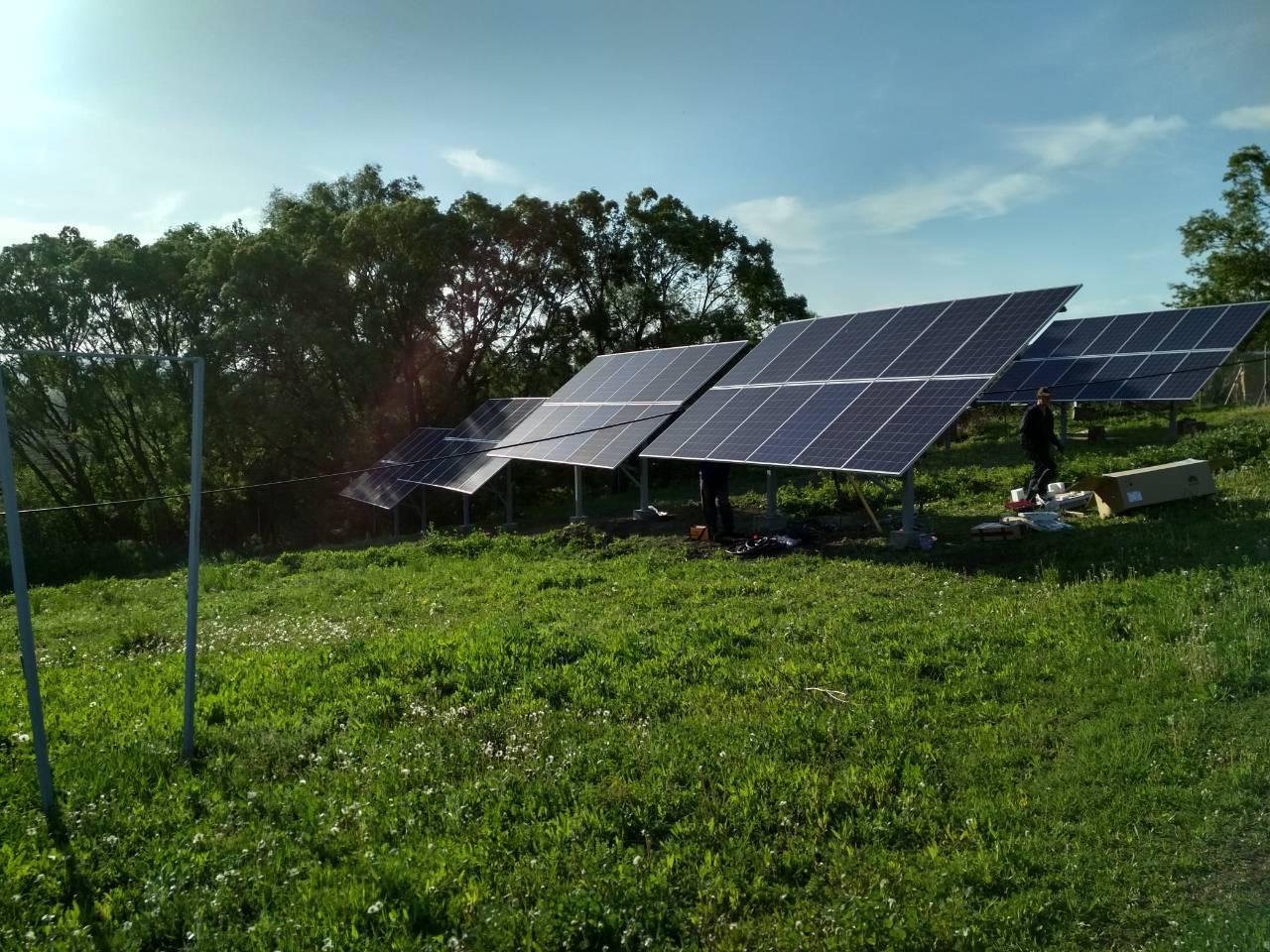 Сетевая солнечная станция 30 кВт (наземный каркас со сменным углом)
