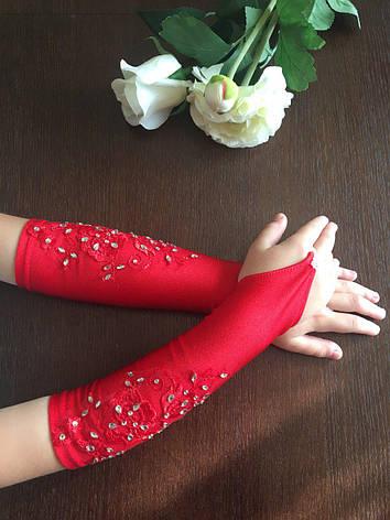 068a96f04becf56 Детские шикарные красные перчатки под бальное вечернее платье для утренника.,  фото 2