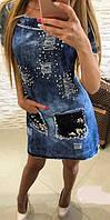 Платье джинсовое в камнях Турция  мил201, фото 1