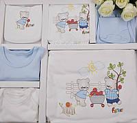 """Набор детской одежды из трикотажа """"Фермер"""", цвет белый с голубым."""