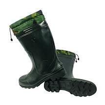 Сапоги резиновые VR мужские ПВХ утепленные Грибник зеленые, фото 3