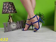 Босоножки Классика 35,36 размеры  синие электрик со стразами, фото 1