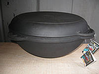 Казан чугунный азиатский, эмалированный , с чугунной крышкой-сковородой. Объем 6,0 литров.