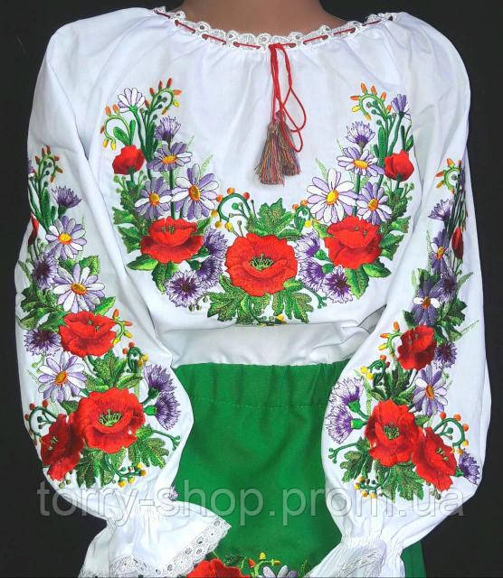 Вышитая блуза на батисте для девочки с полевыми цветами