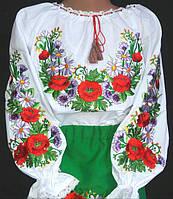 Вышитая блуза на батисте для девочки с полевыми цветами, фото 1