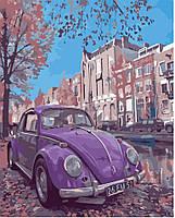 Картина по номерам без коробки Идейка Фиолетовое авто (KHO2503) 40 х 50 см