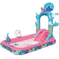 Детский надувной центр BestWay 91051 «Русалочка», 264 х 168 х 180 см, с горкой, надувными кольцами и фонтаном