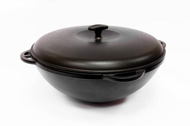 Казан чугунный азиатский, эмалированный , с чугунной крышкой. Объем 6,0 литров.