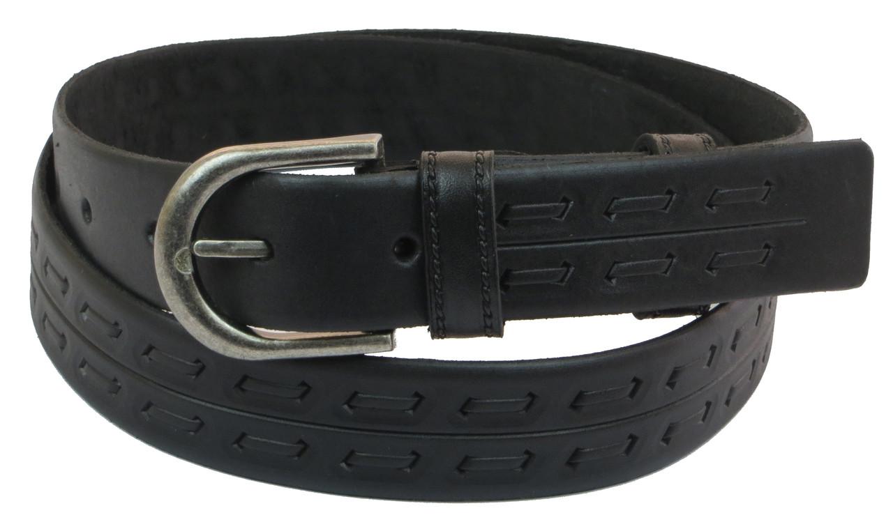 Мужской кожаный ремень под брюки Skipper 1032-33 черный 3,3 см