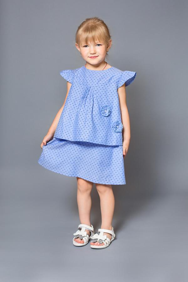 Платье детское (хлопок деним, принт звезды)