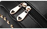 Модный рюкзак женский городской. Рюкзак для девочки с навесным замочком и заклепками (красный), фото 7