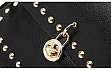 Модный рюкзак женский городской. Рюкзак для девочки с навесным замочком и заклепками (красный), фото 5