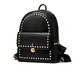 Модный рюкзак женский городской. Рюкзак для девочки с навесным замочком и заклепками (красный), фото 2