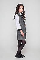 Школьный жилет для девочки серого цвета