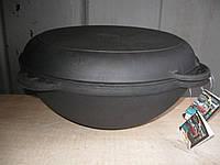 Казан чугунный азиатский, эмалированный , с чугунной крышкой-сковородой. Объем 12,0 литров., фото 1