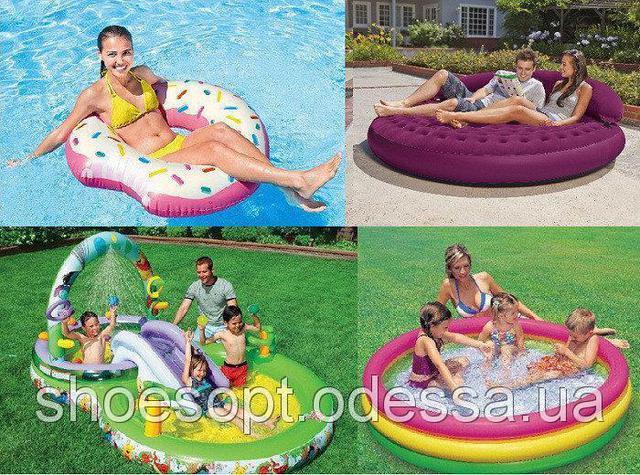 Детские бассейны Intex, семейные бассейны, аксессуары для плавания, надувная мебель