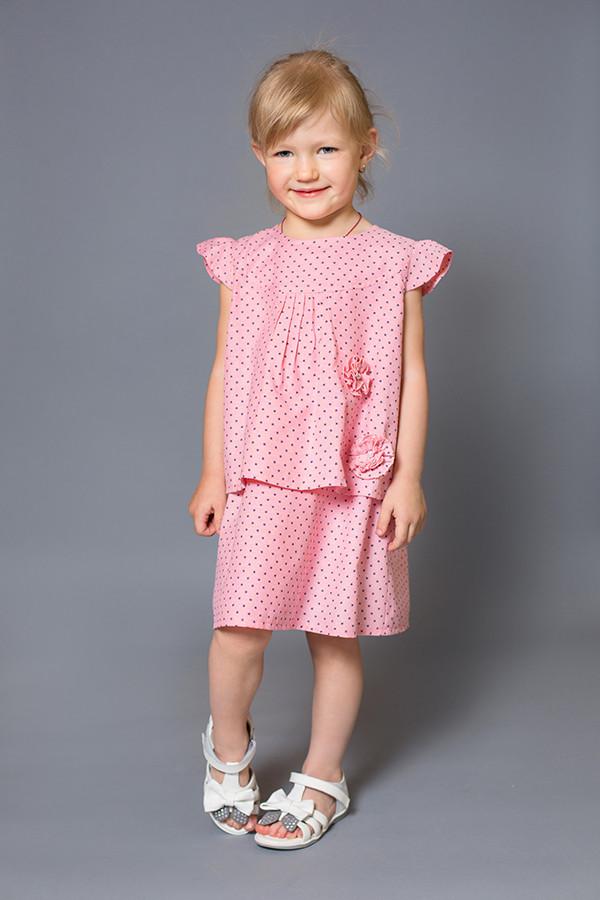 Платье детское (розовое, принт звезды) от 1-го до 3,5 лет