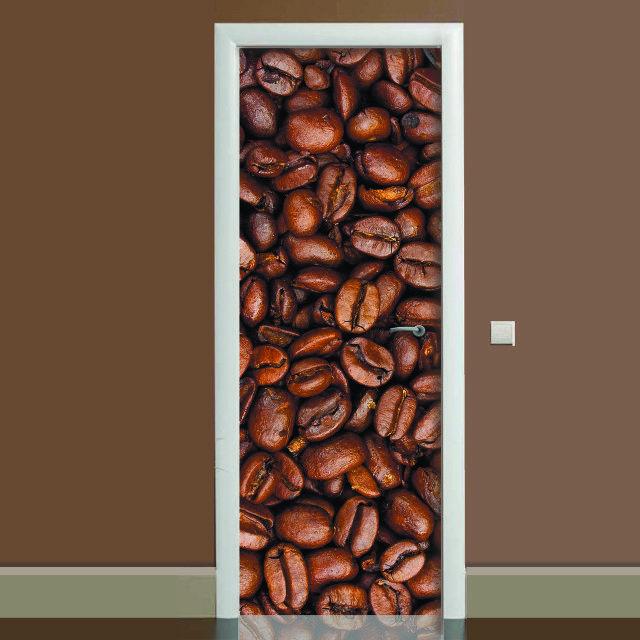 Наклейка на дверь Кофе, (полноцветная фотопечать, пленка для двери)