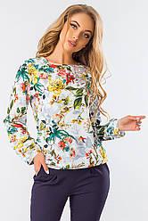 Легкая летняя блузка с длинным рукавом крупные цветы на бежевом