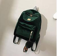 Женский бархатный рюкзак с брелком зеленый, фото 1