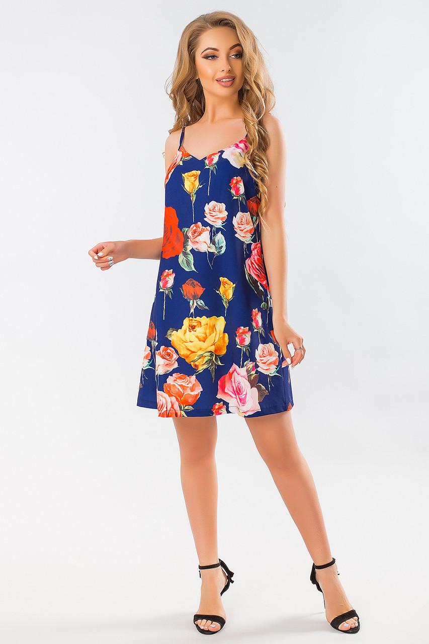 66ea6e1594c Свободное летнее платье-сарафан с бретелями розы на синем -