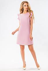 Красивое летнее розовое платье до колен без рукавов с воланами на плечах