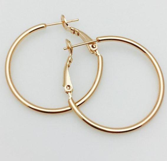 Серьги кольца Fallon 30 мм, позолота 18К