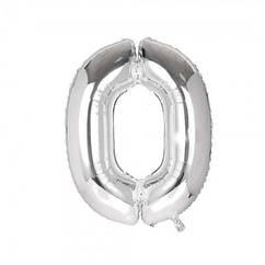 Шарик Цифра серебро (80см) 0