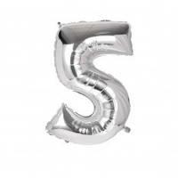 Шарик Цифра серебро (80см) 5