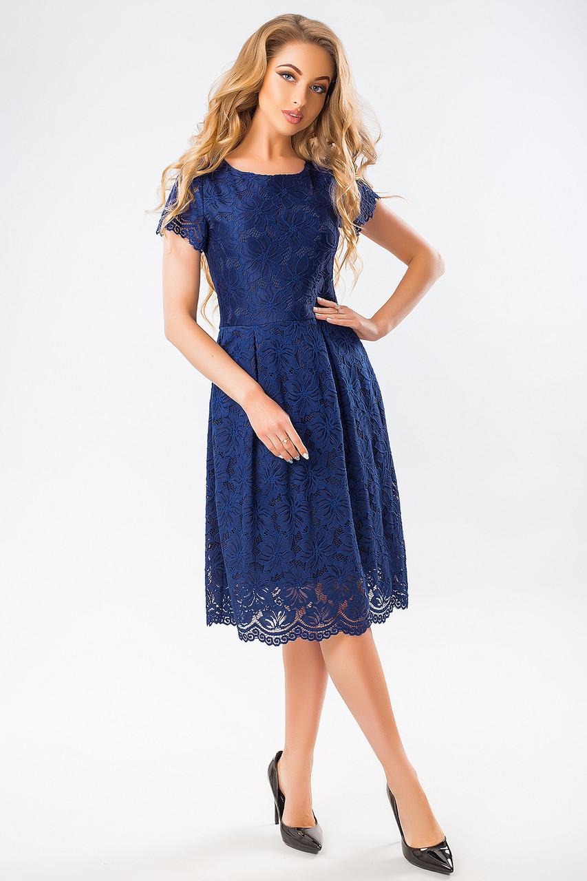 87444df6e597438 Нарядное темно-синее гипюровое платье с пышной юбкой короткий рукав -