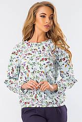 Элегантная блузка с длинным рукавом мелкие цветы на голубом