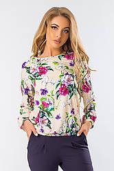 Летняя свободная блузка длинный рукав фиолетовые цветы на бежевом