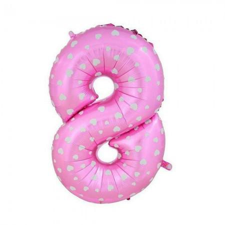 Шарик Цифра розовый (80см) 8