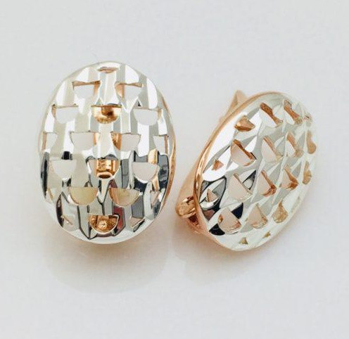 Сережки Fallon овальні з рифленням, позолота 18К